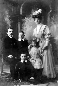 Lily Sherratt and Samuel Jameson and children
